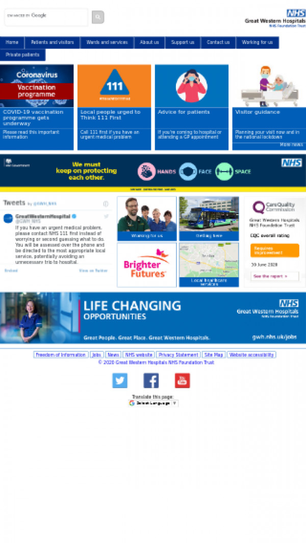Mobile screenshot of Great Western Hospitals NHS Foundation Trust website