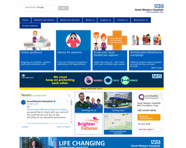 Screenshot of GWH Home - Great Western Hospitals NHS Foundation Trust