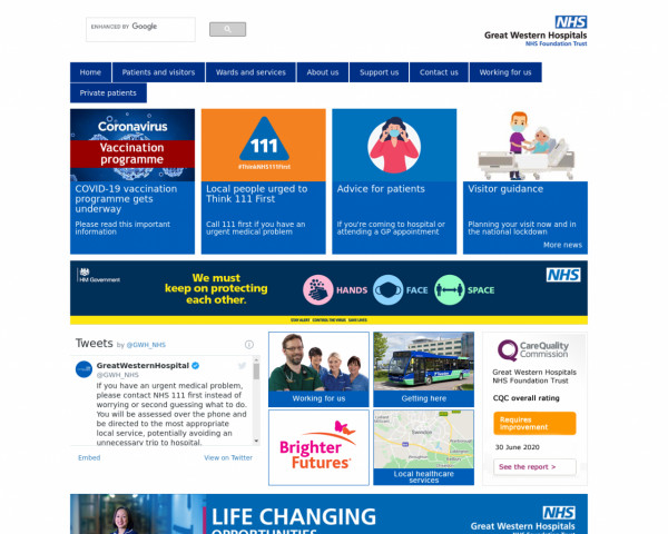 Desktop screenshot of Great Western Hospitals NHS Foundation Trust website