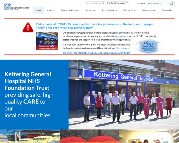 Desktop screenshot of Kettering General Hospital NHS Foundation Trust website