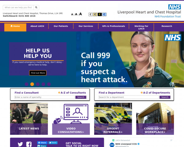 Desktop screenshot of Liverpool Heart and Chest Hospital NHS Foundation Trust website