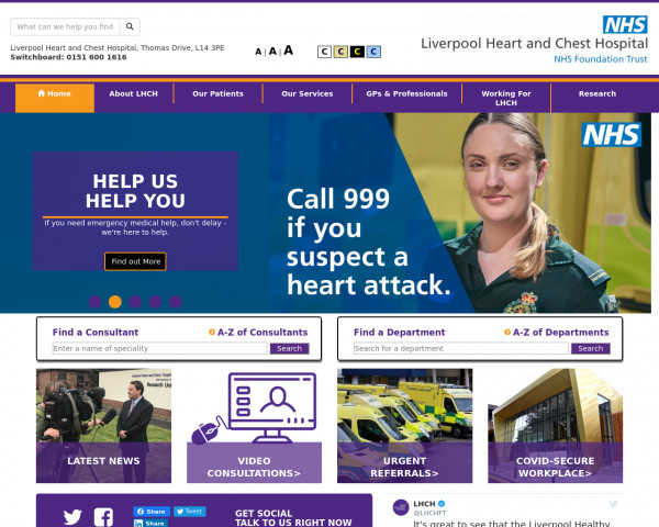 Screenshot of Homepage | Liverpool Heart and Chest Hospital