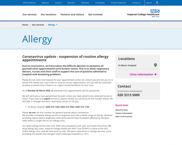 Screenshot of Imperial College Healthcare NHS Trust | Allergy