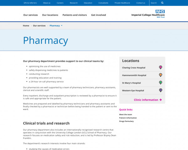 Screenshot of Imperial College Healthcare NHS Trust | Pharmacy