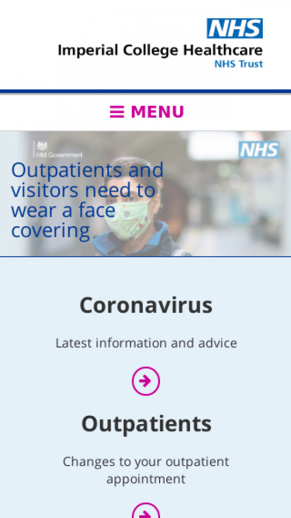 Mobile screenshot of Imperial College Healthcare NHS Trust website