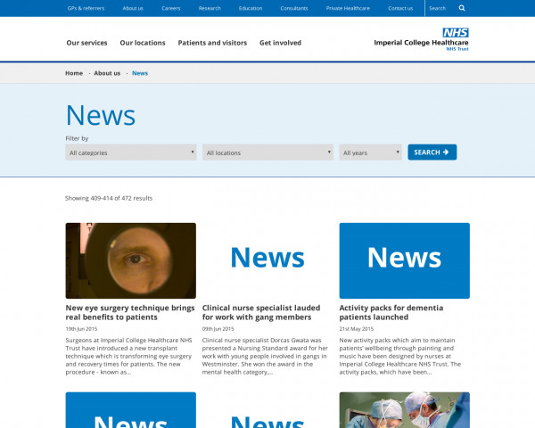 Screenshot of Imperial College Healthcare NHS Trust | News