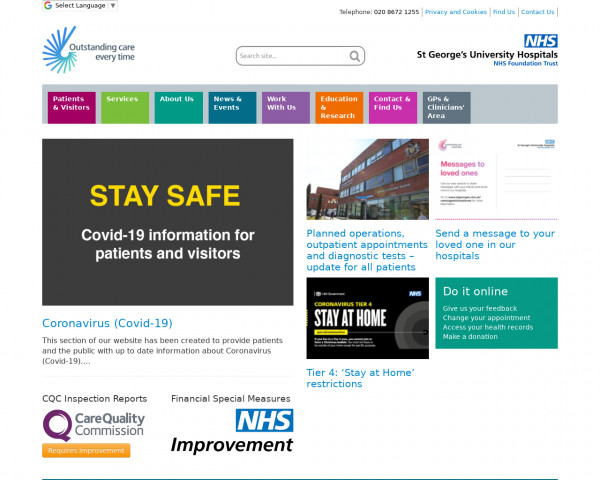 Desktop screenshot of St George's University Hospitals NHS Foundation Trust website