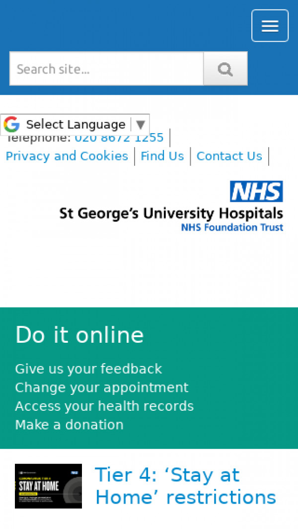 Mobile screenshot of St George's University Hospitals NHS Foundation Trust website