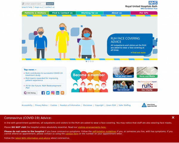 Desktop screenshot of Royal United Hospitals Bath NHS Foundation Trust website
