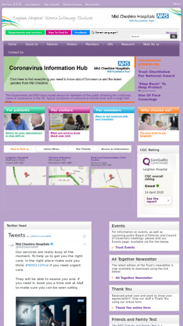 Mobile screenshot of Mid Cheshire Hospitals NHS Foundation Trust website