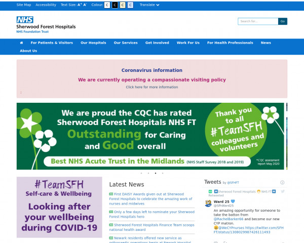 Desktop screenshot of Sherwood Forest Hospitals NHS Foundation Trust website