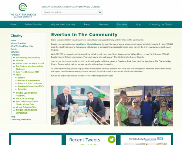 Screenshot of The Clatterbridge Cancer Centre :: Everton In The Community