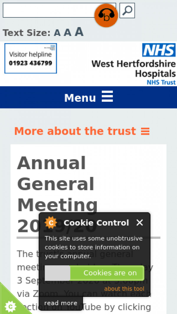 Mobile screenshot of West Hertfordshire Hospitals NHS Trust website