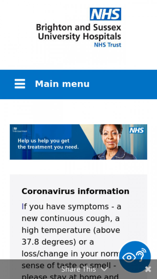 Mobile screenshot of Brighton and Sussex University Hospitals NHS Trust website