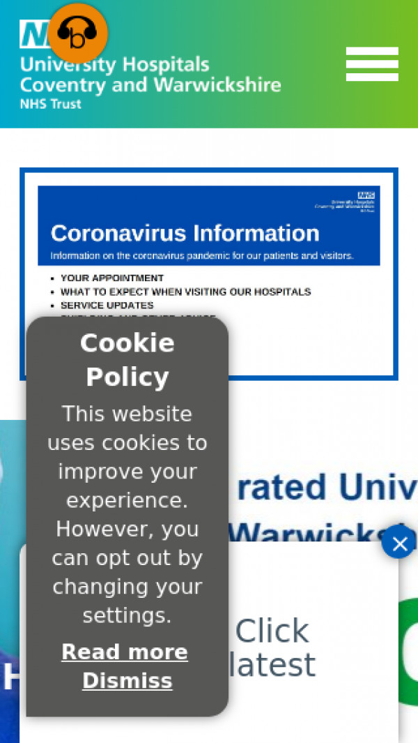 Mobile screenshot of University Hospitals Coventry and Warwickshire NHS Trust website