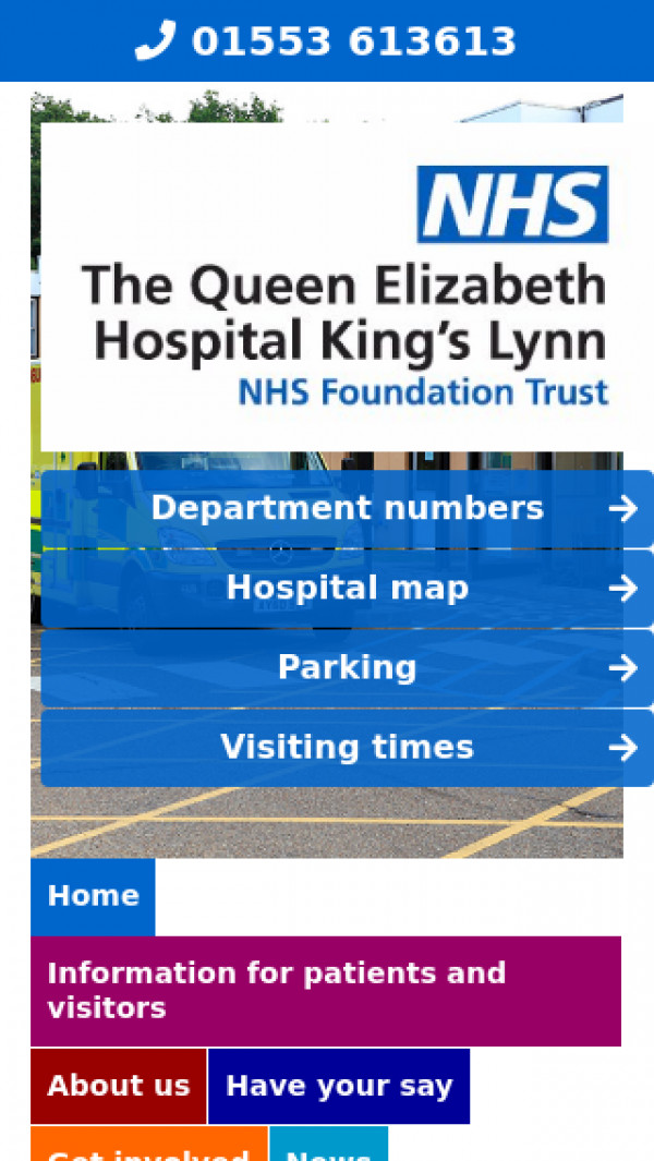Mobile screenshot of The Queen Elizabeth Hospital King's Lynn NHS Foundation Trust website