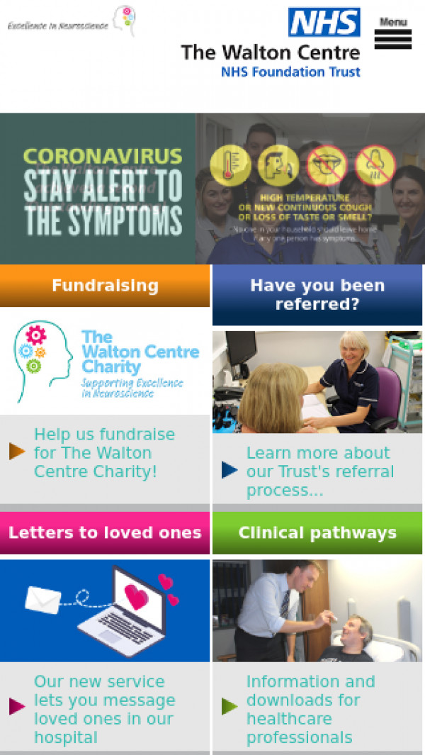 Mobile screenshot of The Walton Centre NHS Foundation Trust website
