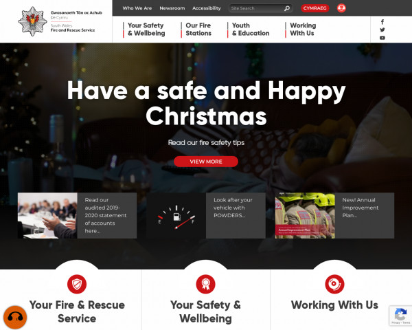 Desktop screenshot of South Wales Fire and Rescue Service website