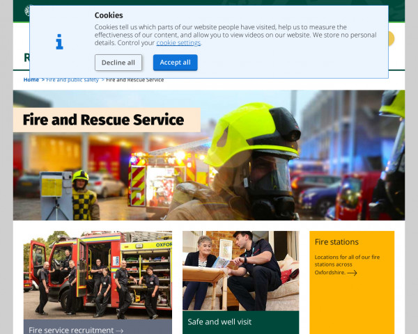 Screenshot of Oxfordshire Fire and Rescue Service