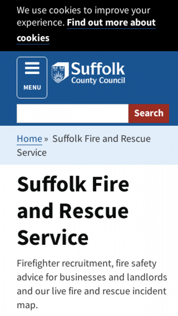 Mobile screenshot of Suffolk Fire and Rescue Service  website