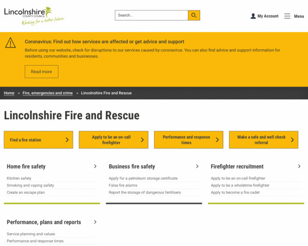 Desktop screenshot of Lincolnshire Fire and Rescue Service website