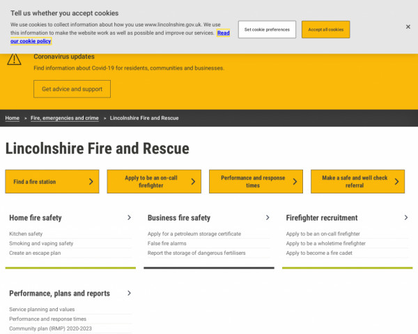 Screenshot of Lincolnshire Fire and Rescue Service