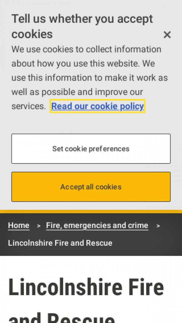 Mobile screenshot of Lincolnshire Fire and Rescue Service website