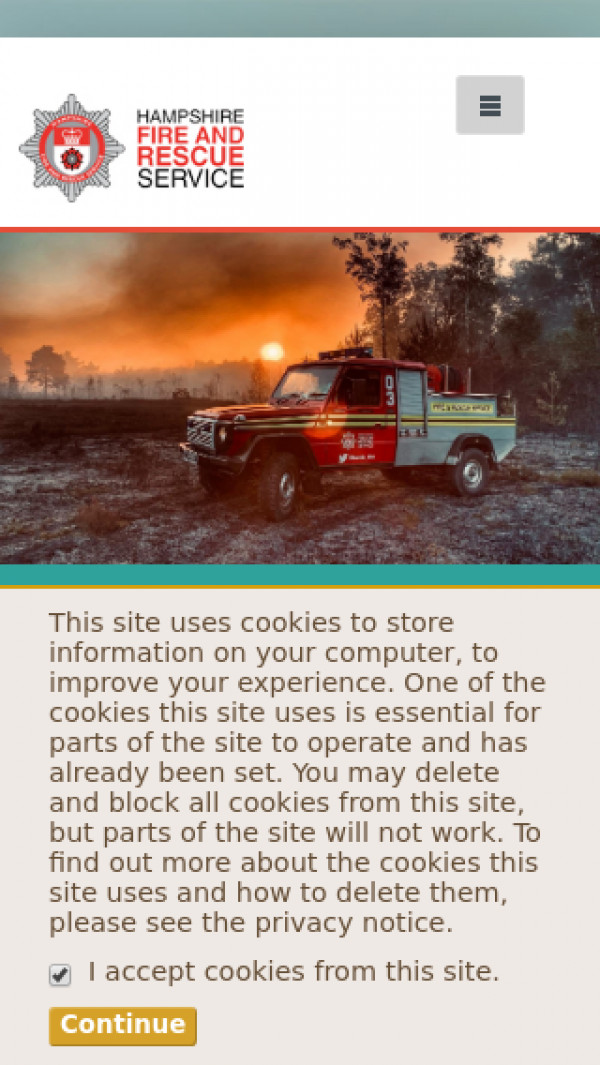 Mobile screenshot of Hampshire Fire and Rescue Service  website