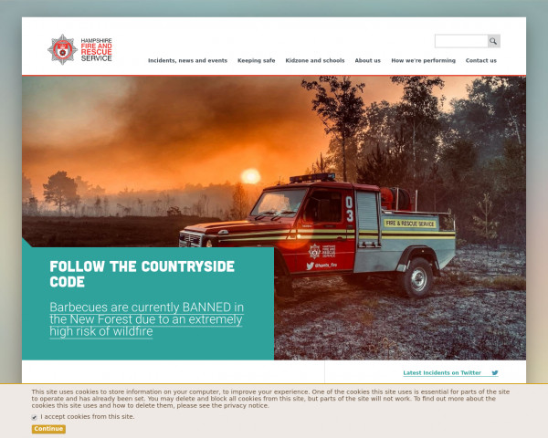 Desktop screenshot of Hampshire Fire and Rescue Service  website