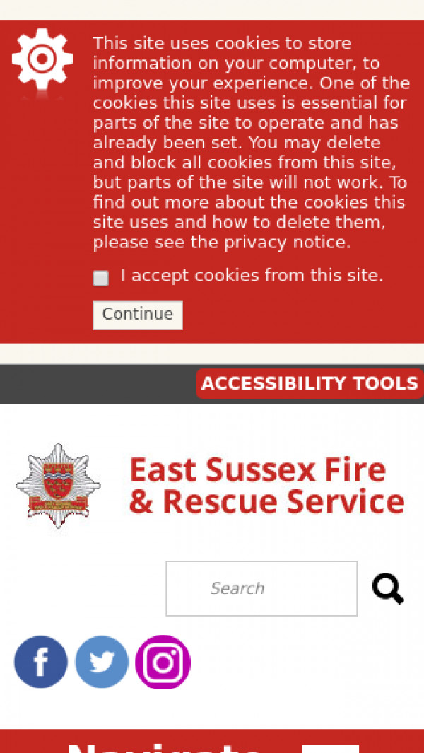 Mobile screenshot of East Sussex Fire and Rescue Service  website