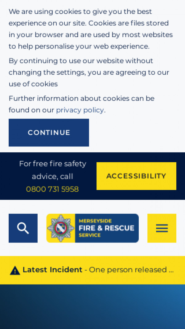 Mobile screenshot of Merseyside Fire and Rescue Service  website