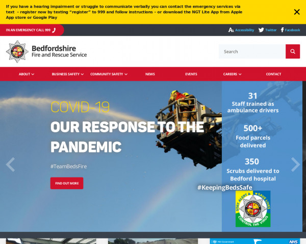 Desktop screenshot of Bedfordshire Fire and Rescue Service  website