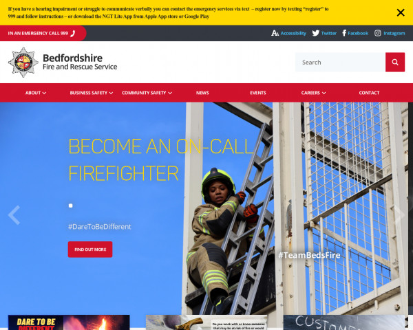 Screenshot of Bedfordshire Fire and Rescue Service