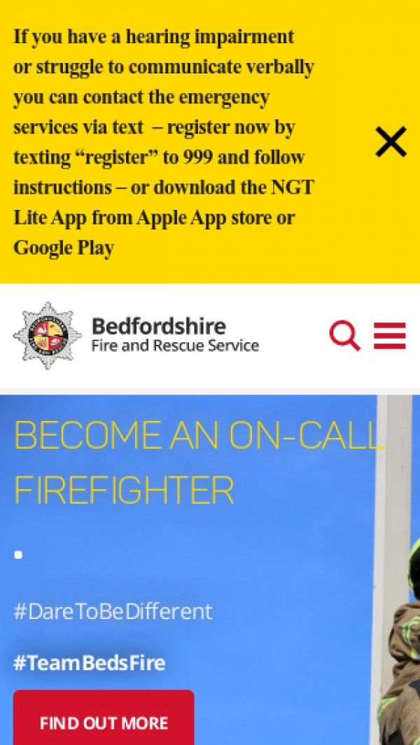 Mobile screenshot of Bedfordshire Fire and Rescue Service  website