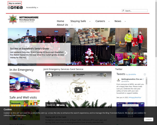 Desktop screenshot of Nottinghamshire Fire and Rescue Service  website