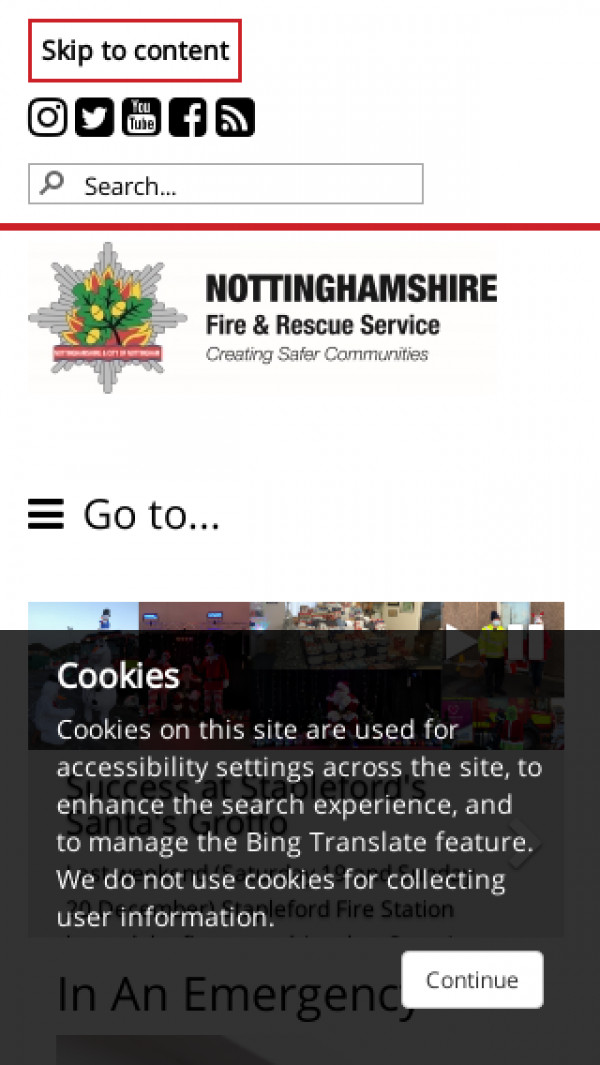 Mobile screenshot of Nottinghamshire Fire and Rescue Service  website