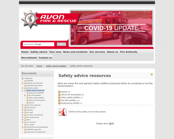 Screenshot of Safety advice leaflets - Safety advice resources - Avon Fire & Rescue Service