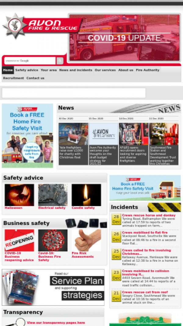 Mobile screenshot of Avon Fire and Rescue Service website
