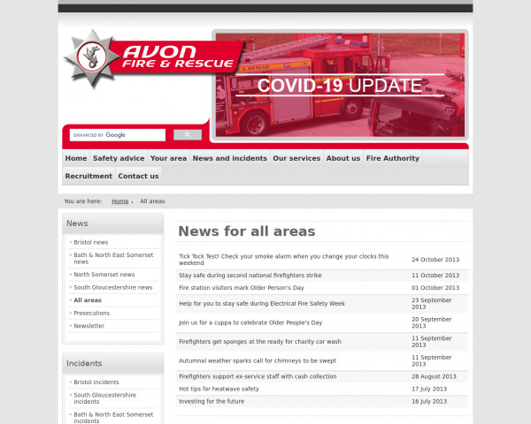 Screenshot of News for all areas - Avon Fire & Rescue Service