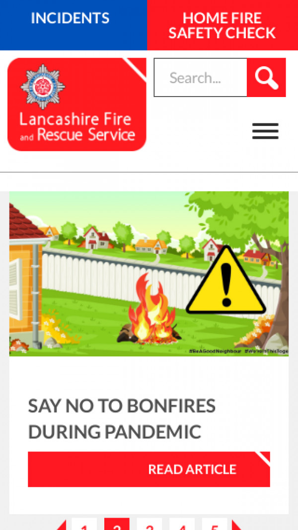Mobile screenshot of Lancashire Fire and Rescue Service  website