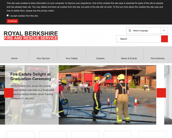Screenshot of Royal Berkshire Fire and Rescue Service