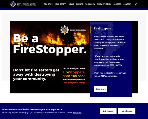 Screenshot of Welcome | County Durham and Darlington Fire and Rescue Service