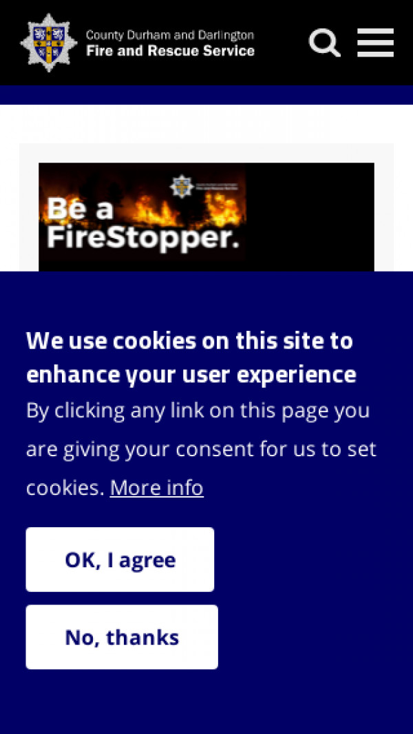 Mobile screenshot of Durham Fire and Rescue Service  website