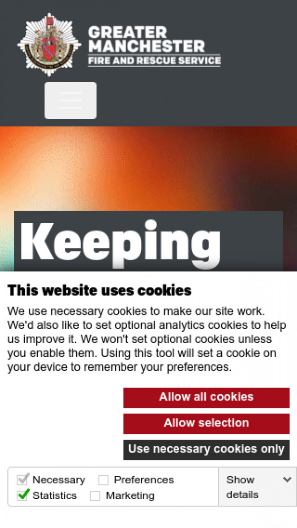 Mobile screenshot of Greater Manchester Fire and Rescue Service  website