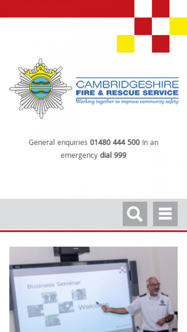 Mobile screenshot of Cambridgeshire Fire and Rescue Service  website