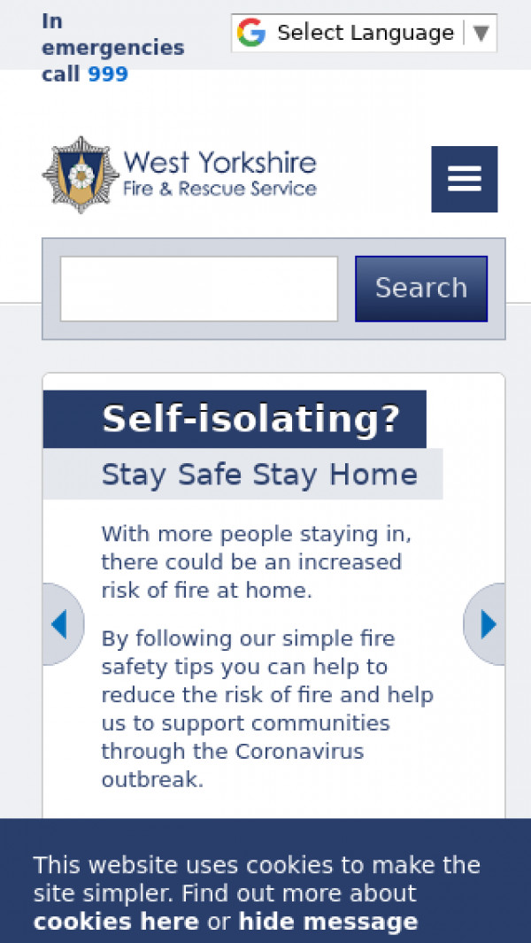 Mobile screenshot of West Yorkshire Fire and Rescue Service  website