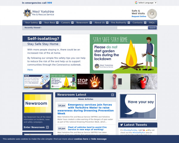 Desktop screenshot of West Yorkshire Fire and Rescue Service  website