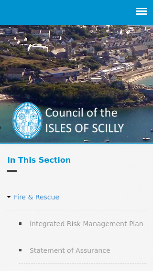 Mobile screenshot of Isles of Scilly Fire and Rescue Service  website