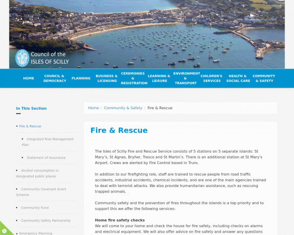 Desktop screenshot of Isles of Scilly Fire and Rescue Service  website