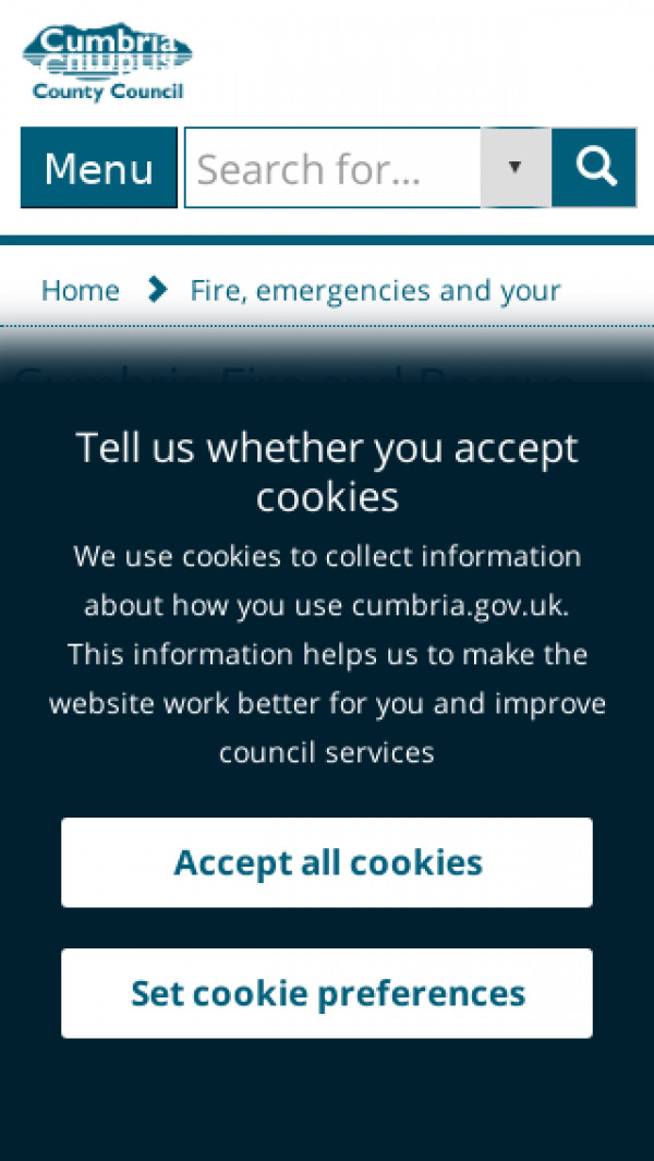 Mobile screenshot of Cumbria Fire and Rescue Service  website